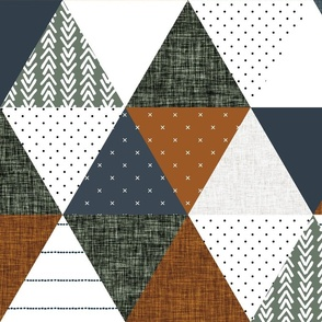 "6"" triangle wholecloth: rust, slate, olive"