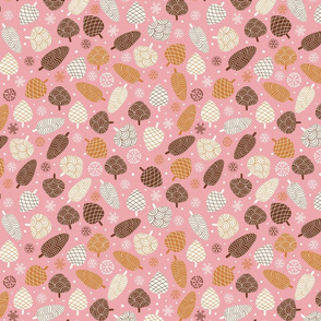 Pine Cones in snow-Pink and Brown