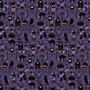 Spooky Witchcraft Halloween Purple Small Scale