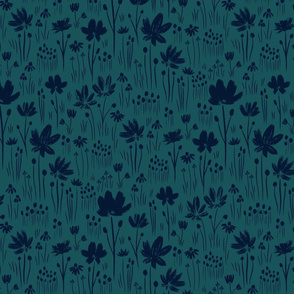 Teal and navy blue grass