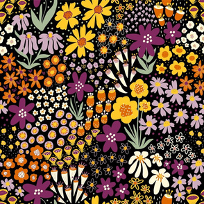 Autumn Flower Meadow Purple Yellow White Black