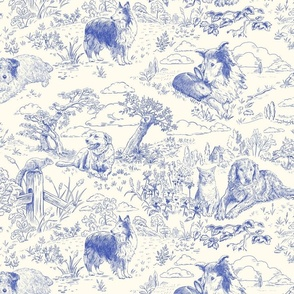 Country Dogs Toile