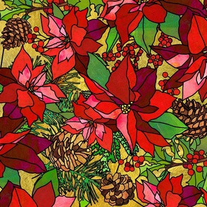 Stained Glass Poinsettias on Gold