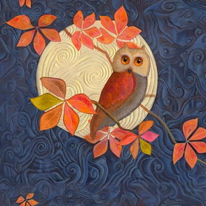 Panel Size Owl with Autumn Leaves and Harvest Moon