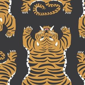 Safari Tiger Rug Lg   Black