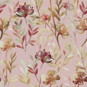 Seamless pattern vintage pink leaf