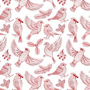Winter Birds and Foliage (Red) – SMALL SCALE