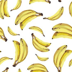 Bananas yellow, hand painting, juicy summer pattern