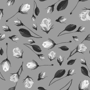 Simple twig of kutova rose with leaves vintage hand drawing paints black grey