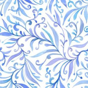 blue leaves curls fantasy pattern