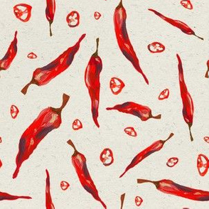 Red feather spicy chili pattern