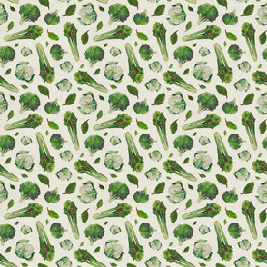 Salad_ cabbage_ celery_ green vintage vegetable pattern_ paint paper