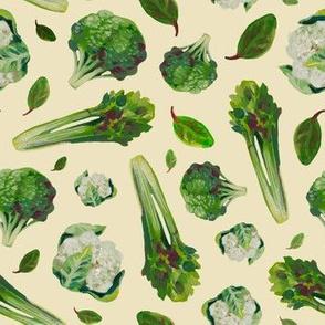 Salad_ cabbage_ celery_ green vintage vegetable pattern_ paint