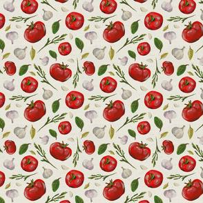 tomatoes garlic arugula fresh pattern salad paper