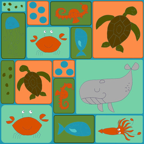 Underwater Friends colorful blocks