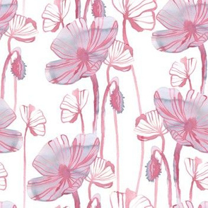 Pink poppy flowers vintage pattern