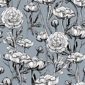 Seamless pattern vintage roses blue