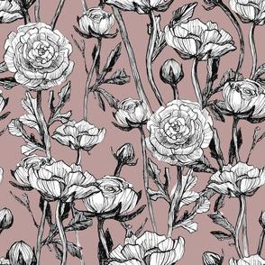 Seamless pattern vintage roses pink