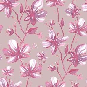 Twigs with flowers vintage pattern for textiles pink