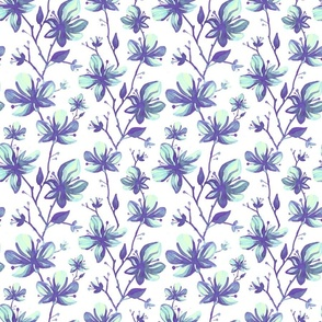 Twigs with flowers vintage pattern for textiles white paper