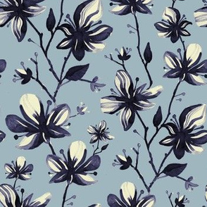 Twigs with flowers vintage pattern for textiles