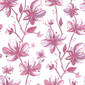Twigs with flowers vintage pattern for textiles pink white