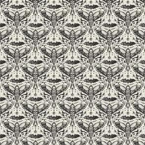 Watercolor Skull Moth Damask - Micro Scale