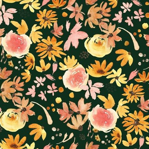 Black Eyed Susan & Roses|DARK GREEN|Renee Davis
