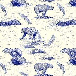 Grizzly Bears Fishing For Salmon (Beige and Blue) – Small Scale