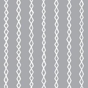 Small Diamond Stripes - White on Grey