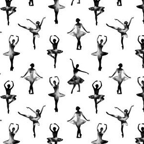 Watercolor Ballerinas One-Way Pattern (Black) – Small Scale