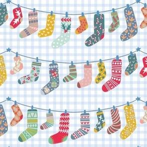 Blue plaid Christmas socks, stockings, holiday new year gift