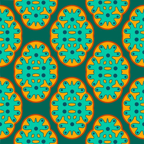 Quatrefoil green and orange