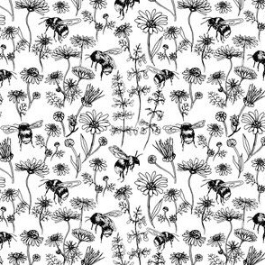 Buzzing Herb Garden (Black and White) – Small Scale