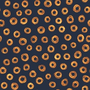 batik donut polkadots - copper and gold on navy