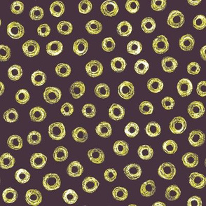 batik donut polkadots - midsummer gold on dark mauve