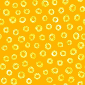 batik donut polkadots - yellow on gold
