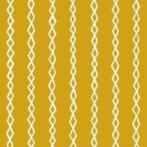 Small Diamond Stripes - White on Mustard