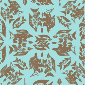 Protect Wild Ocean Fish Taupe on Aqua