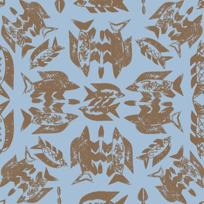 Protect Wild Ocean Fish Taupe on Blue
