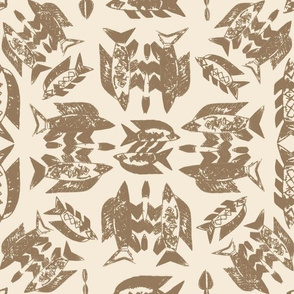 Protect Wild Ocean Fish Taupe on Cream
