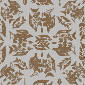 Protect Wild Ocean Fish Taupe on Gray
