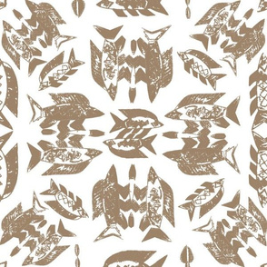 Protect Wild Ocean Fish Taupe on White