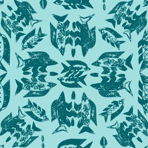 Protect Wild Ocean Fish Teal on Aqua