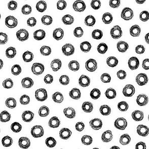 crayon donut polkadots - black and white