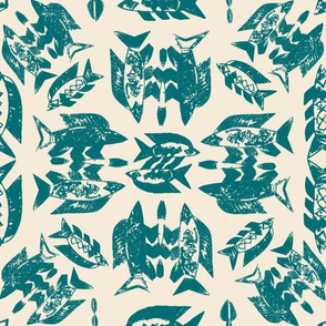 Protect Wild Ocean Fish Teal on Cream