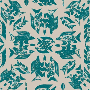 Protect Wild Ocean Fish Teal on Taupe