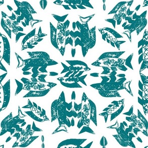 Protect Wild Ocean Fish Teal on White