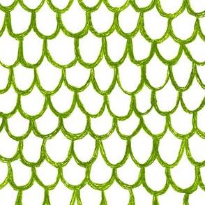 crayon scallops - leaf green