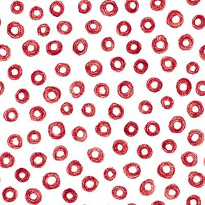 crayon donut polkadots - cranberry red